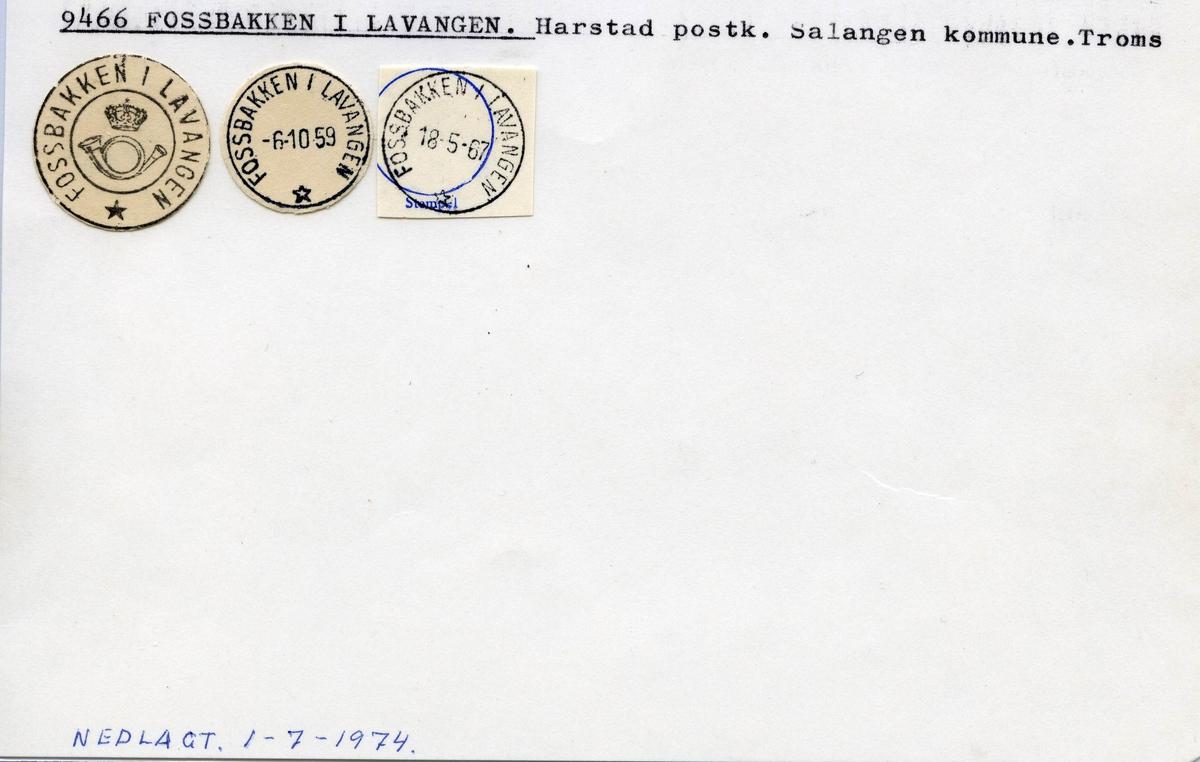 Stempelkatalog 9466 Fossbakken i Lavangen, Salangen, Troms