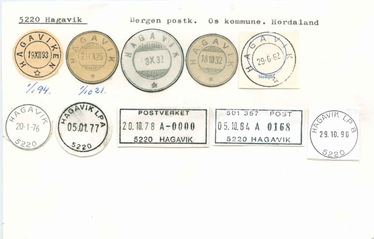 Stempelkatalog. 5220 Hagavik. Bergen postkontor. Os kommune. Hordaland fylke.