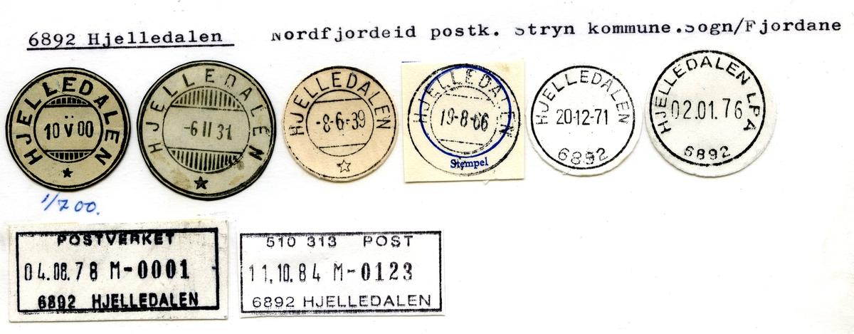 Stempelkatalog. 6892 Hjelledalen. Nordfjordeid postkontor. Stryn kommune. Sogn og Fjordane fylke. Bilde mangler.