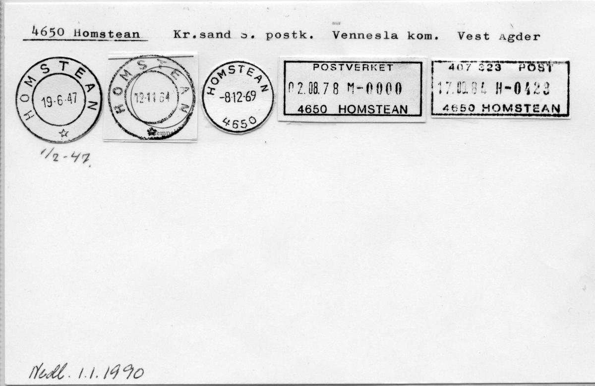 Stempelkatalog. 4650 Homstean. Kristiansand postkontor. Vennesla kommune. Vest-Agder fylke.