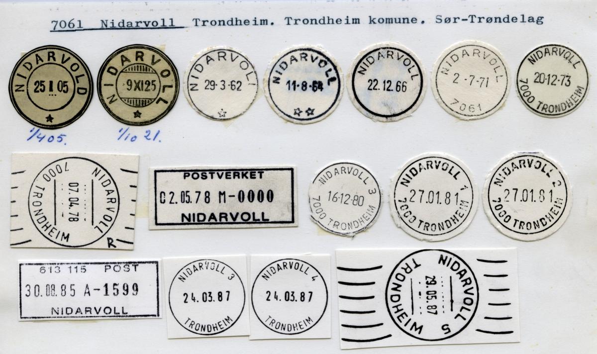 Stempelkatalog. 7061 Nidarvoll. Trondheim postkontor. Trondheim kommune. Sør-Trøndelag fylke.
