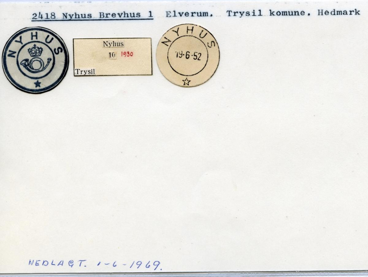 Stempelkatalog. 2418 Nyhus brevhus I. Elverum postkontor. Trysil kommune. Hedmark fylke.