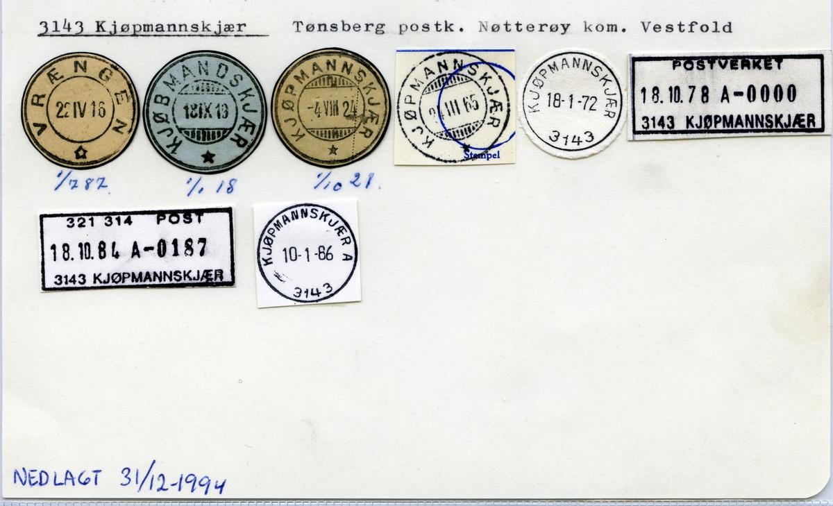 Stempelkatalog 3143 Kjøpmannskjær (Vrængen, Kjøbmandskjær), Tønsberg, Nøtterøy, Vestfold