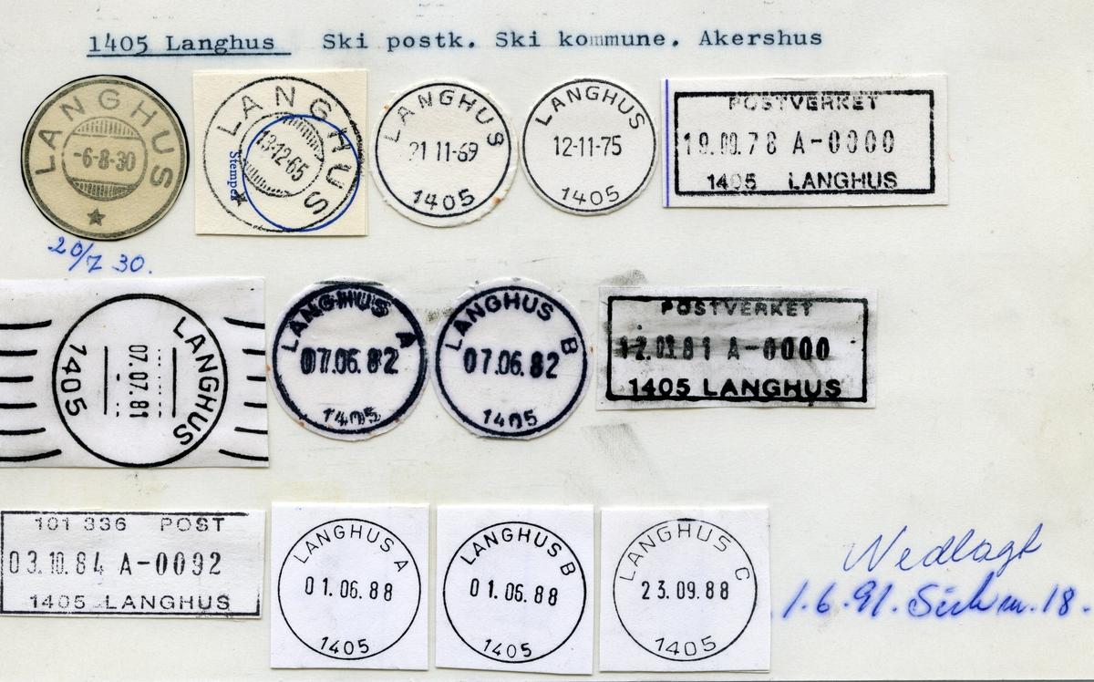 Stempelkatalog 1405, Langhus (Vevelstad), Ski, Akershus