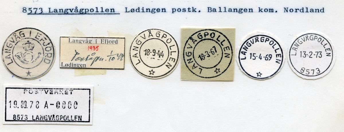 Stempelkatalog 8573 Langvågpollen (Langvåg i Efjord), Lødingen, Ballangen, Nordland