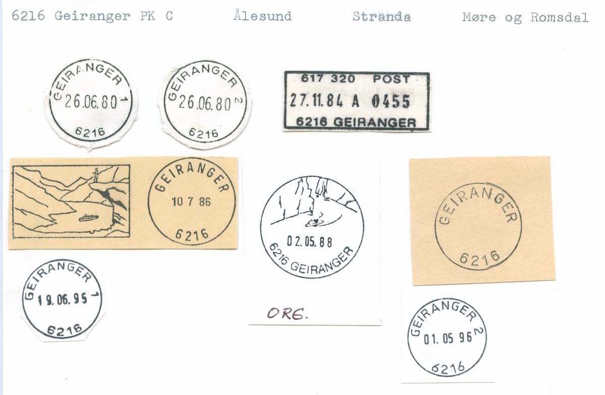 Stempelkatalog 6216 Geiranger, Stranda, Møre og Romsdal