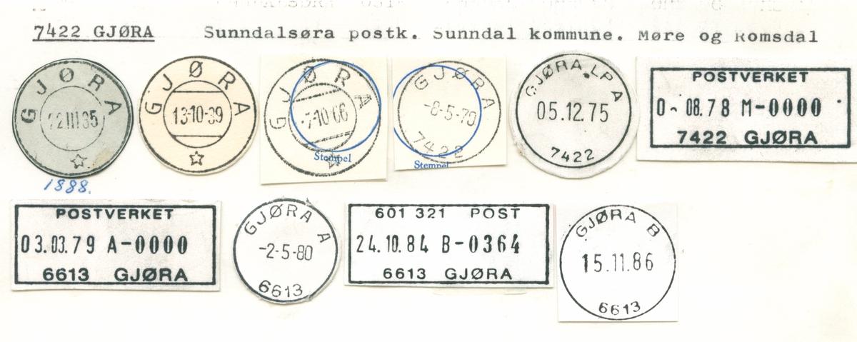 Stempelkatalog 7422 Gjøra, Sunndalsøra, Sunndal, Møre og Romsdal