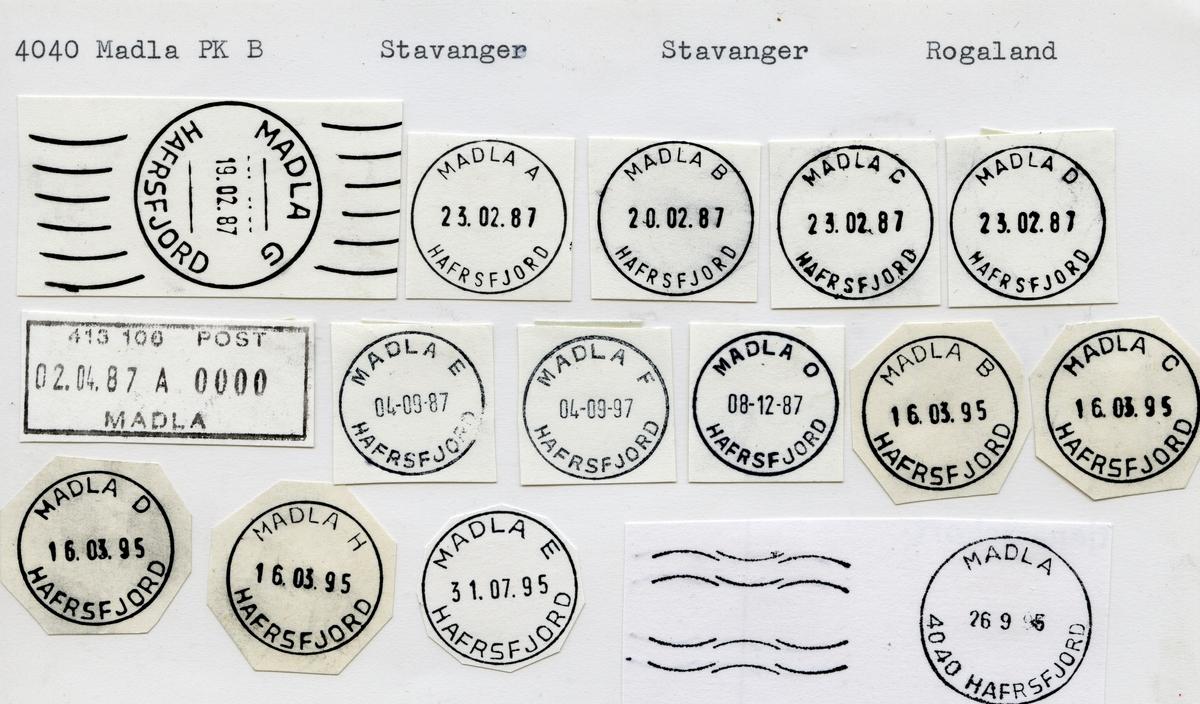 Stempelkatalog,  4040 Madla, Stavanger kommune, Rogaland (Madlakrossen)