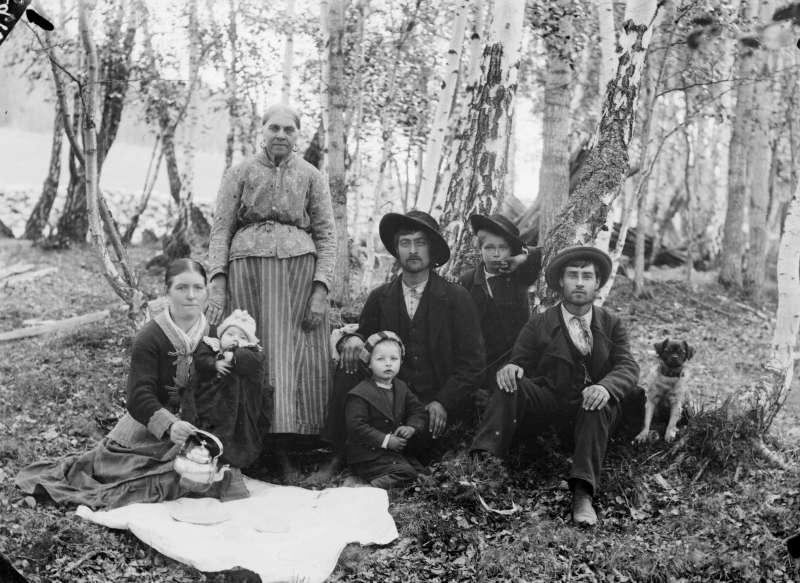 02.06.1901. Magnus Andersons gruppe. Gruppebilde i skog, kvinner, menn, barn, tatere.