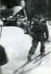 Menn, ski, skog
