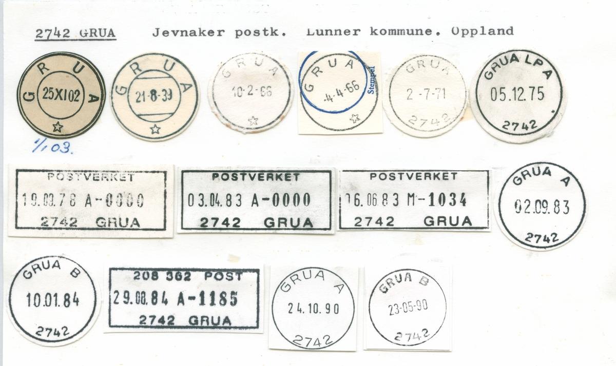 Stempelkatalog 2742 Grua, Gjøvik, Lunner, Oppland