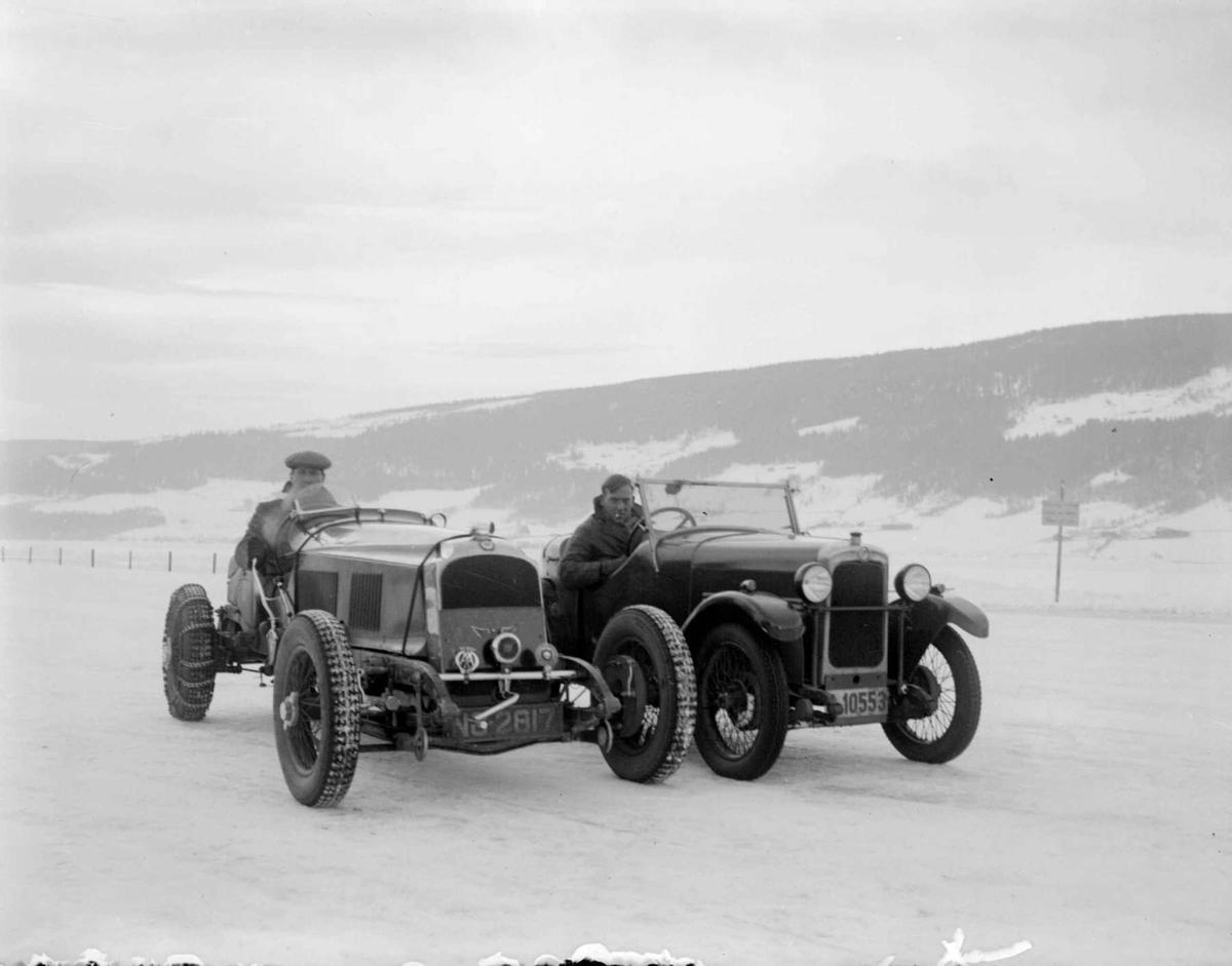 Mjøsløpet 1934, to biler, Jacot og Hasler fra England