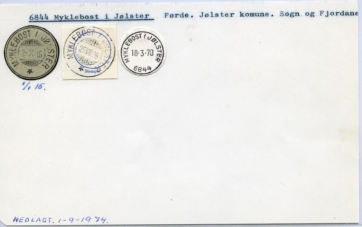 Stempelkatalog  6844 Myklebost i Jølster, Jølster kommune, Sogn og Fjordane