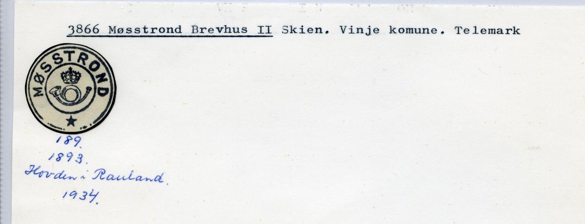 Stempelkatalog  3866 Møsstrond, Vinje kommune, Telemark