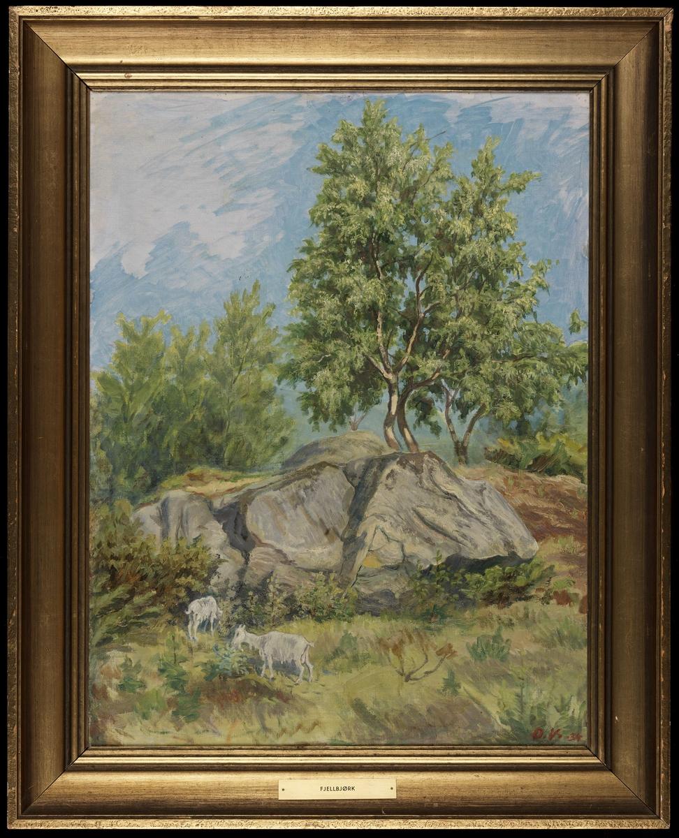 Landskap, 3 beitende geiter, fjellknaus m. grønn bjerk, blå himmel