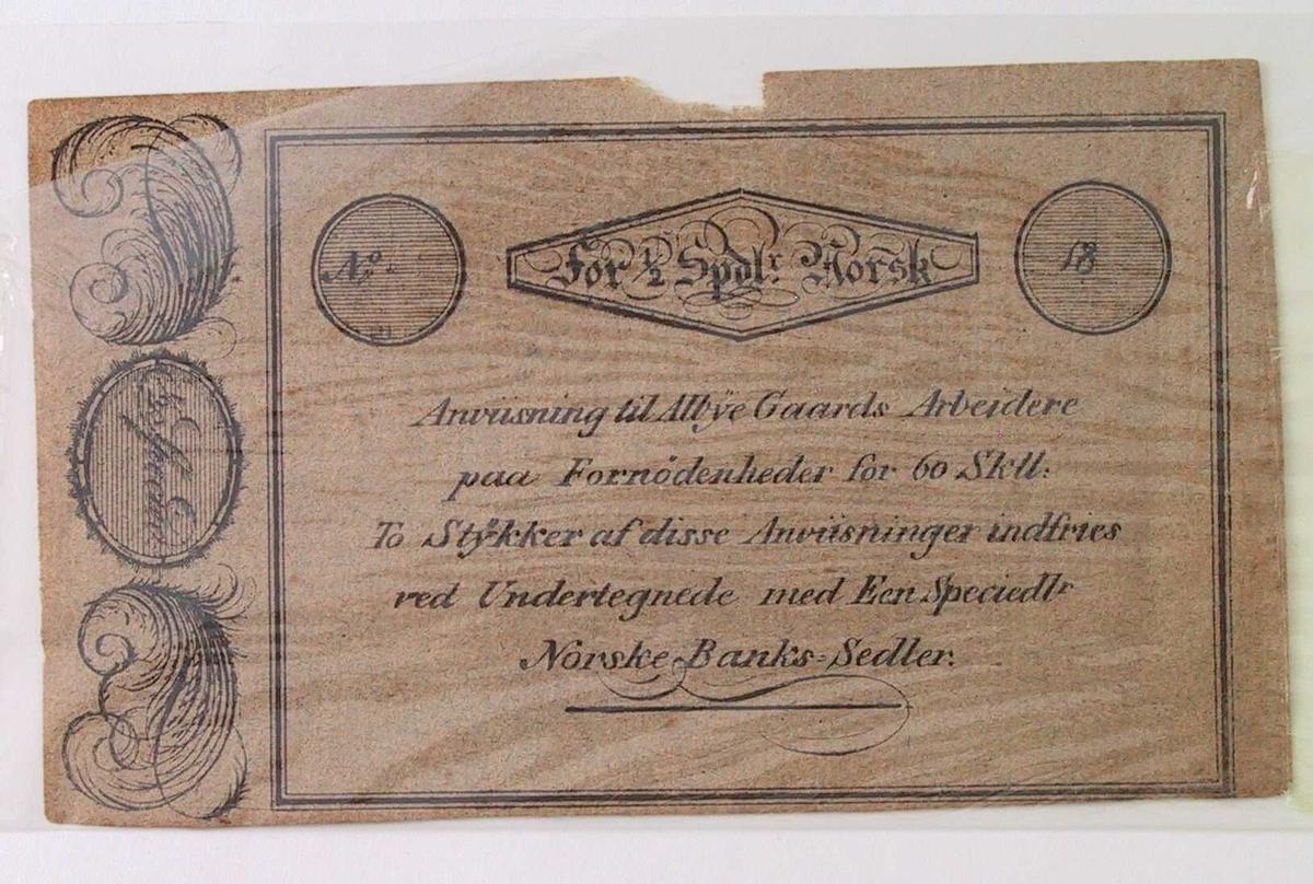 Sort trykk på brunrosa papir. Øverst tekst i frakturskrift.