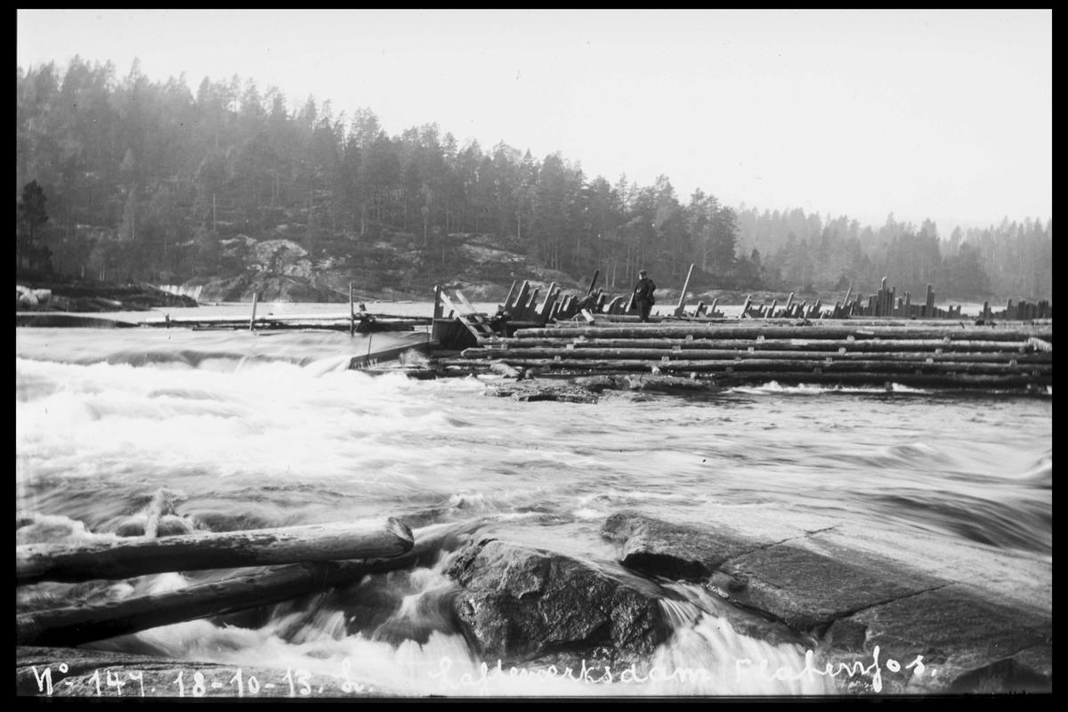 Arendal Fossekompani i begynnelsen av 1900-tallet CD merket 0446, Bilde: 28 Sted: Flatenfoss Beskrivelse: Løftedam