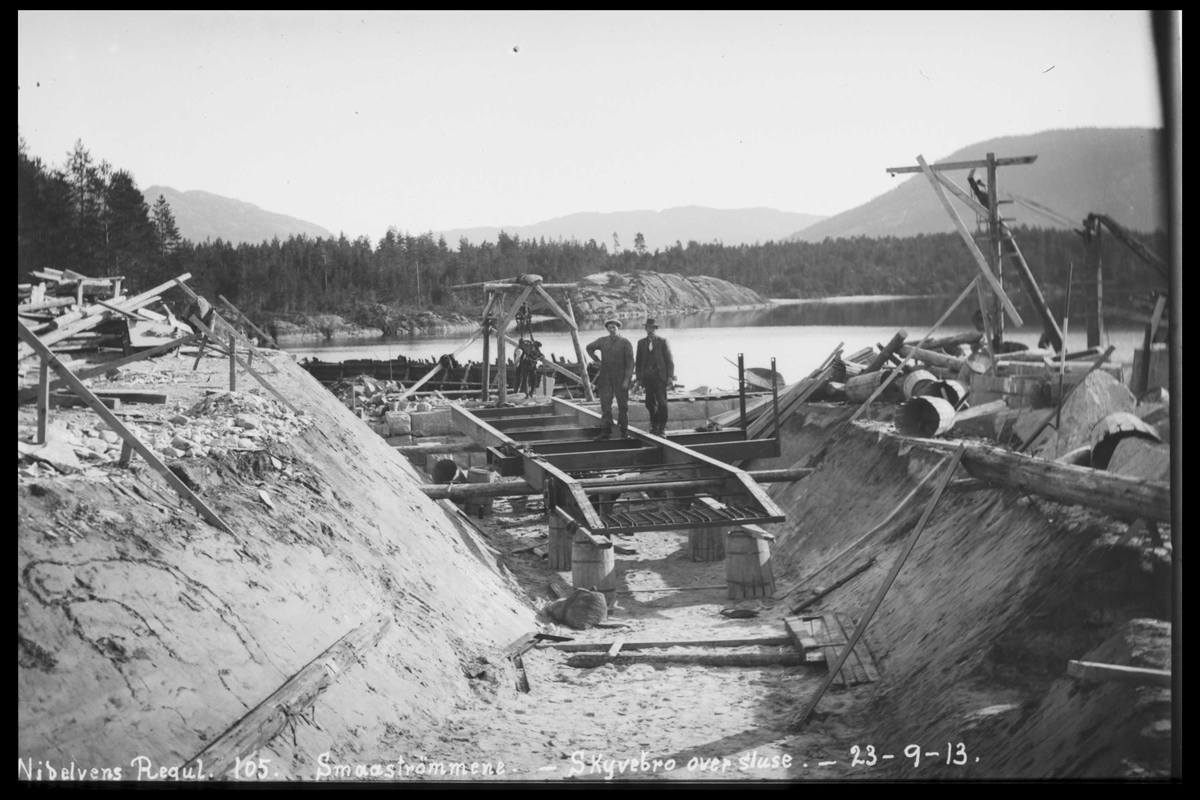 Arendal Fossekompani i begynnelsen av 1900-tallet CD merket 0446, Bilde: 45 Sted: Fyrisvann, Rudsdammen Beskrivelse: Regulering