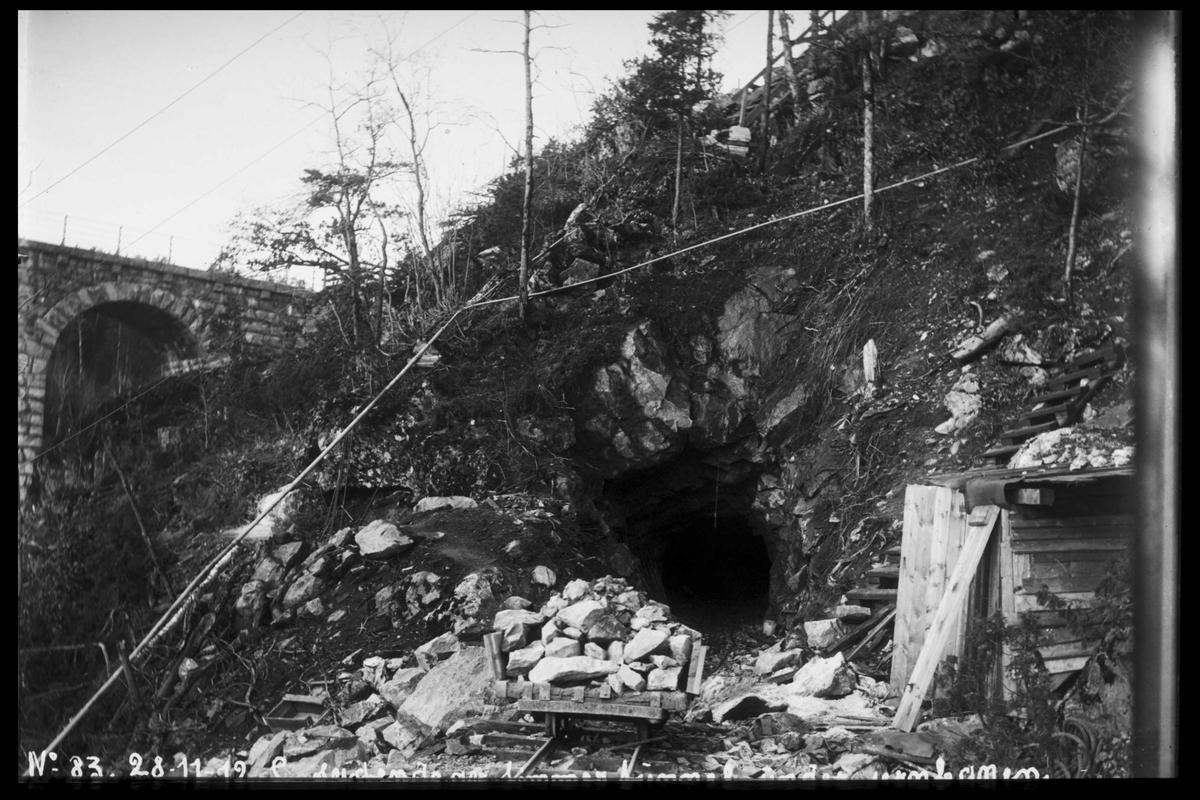 Arendal Fossekompani i begynnelsen av 1900-tallet CD merket 0470, Bilde: 26 Sted: Bøylefoss Beskrivelse: Tømmerenna. Tunnellen under jernbanen
