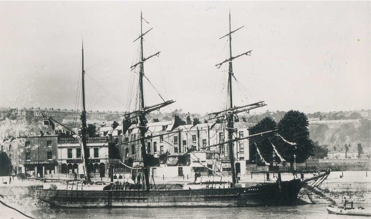 """Fartøybilder fra Agder  """"Embla"""", bark 1896-1897  Opprinnelig filreferanse i eDepoet: F0121_Fartøybilder-SMW_090525\EMBLA 4"""