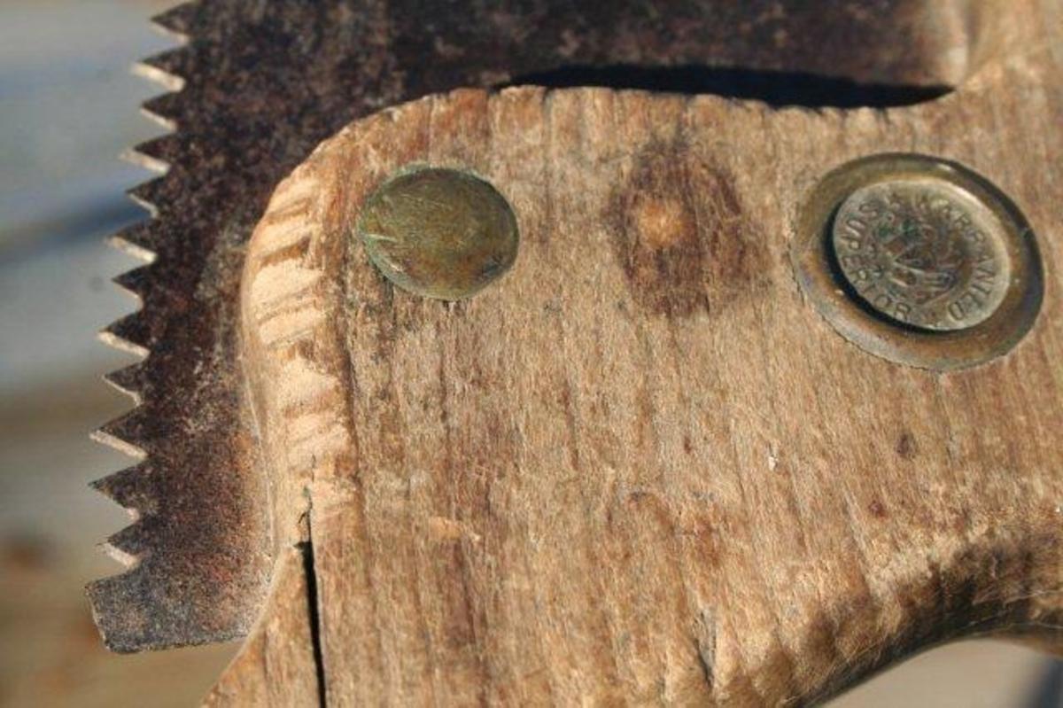 Sagbladet er felt inn i trehåndtaket og festet med gjennomgående messingnagler.  På nedsiden av håndtaket  (ved tennenes begynnelse) er det skåret inn noen hakk. Saga er preget av lang tids bruk. Sagbladet er slipt ned gjentatte ganger, slik at det nå er mye smalere enn opprinnelig.