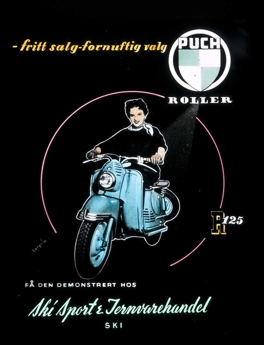 Kinoreklame fra Ski for Puch moped. ..fritt salg - fornuftig valg. Puch roller R 125. Få den demonstrert hos Ski Sport & Jernvarehandel.