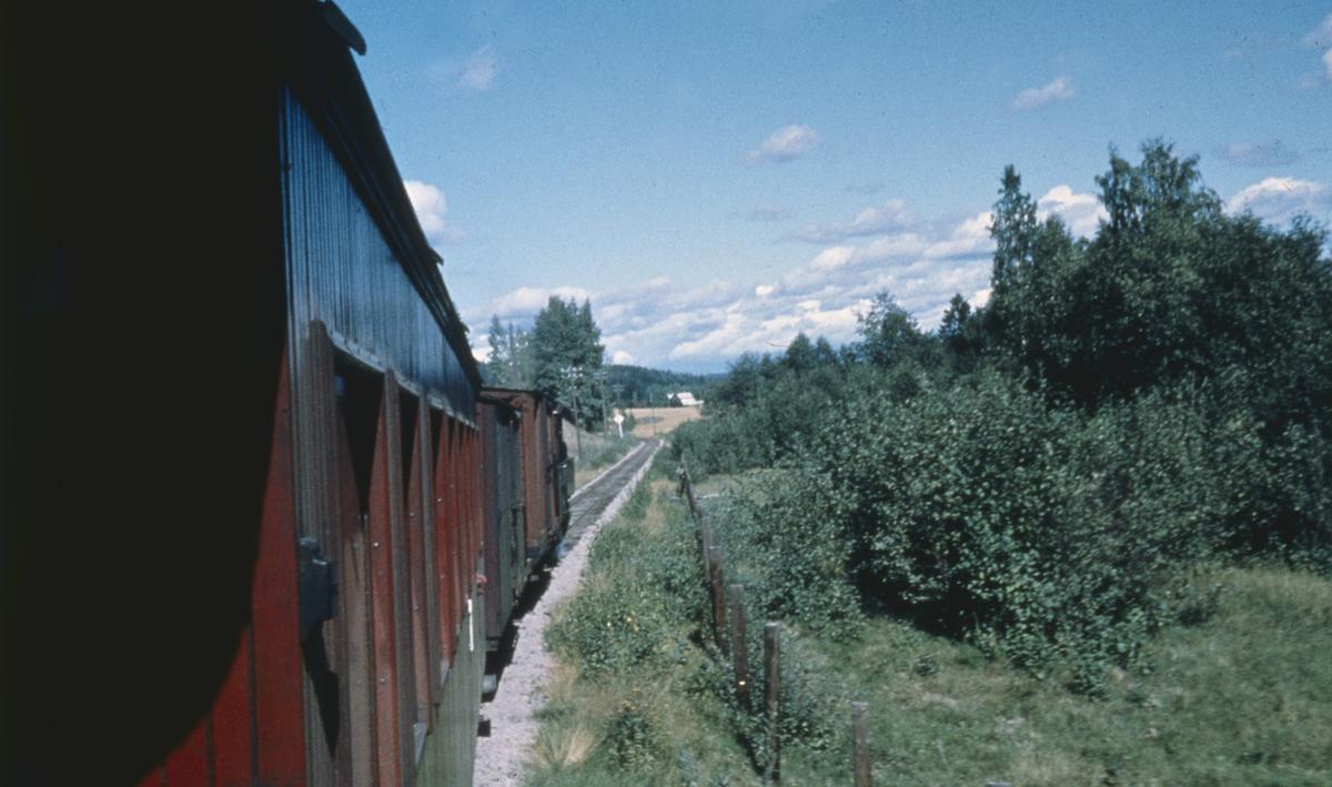 Utsikt fra kupevinduet underveis i tog 2058 retning Sørumsand