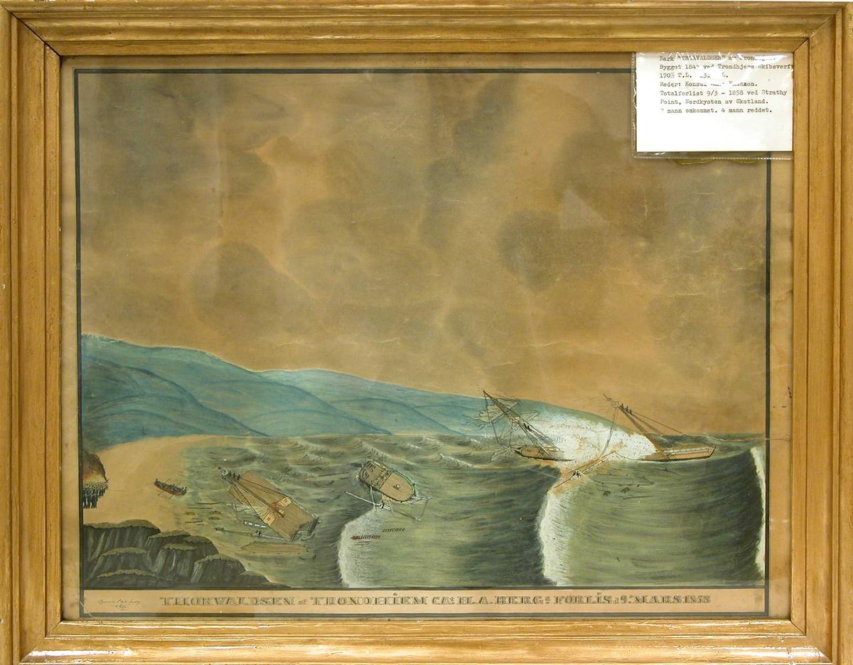 """Barken """"Thorvaldsen"""" forliser 9/3-1858 ved Strathy Point på nordøst kysten av Skottland."""