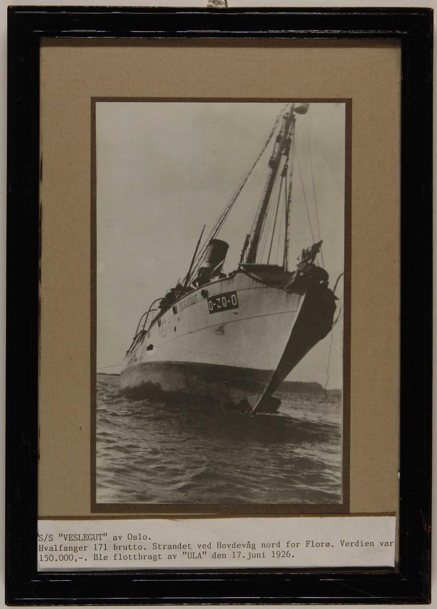 """Havarert dampskip på skjær. Hvalfangerbåten D/S """"Veslegut"""" av Oslo på grunn ved Hovdevåg nord for Florø."""