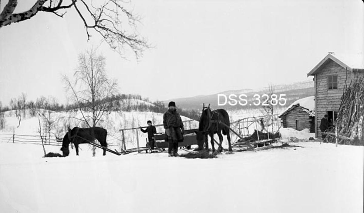 Kvil med foring av hester på garden Kullen i Jovassdalen ved Terna i Sverige.  To menn med hver sine hester forspent nesten tomme sleder (antakelig forsleder) med høge grinder.  Til høyre gavlene på to bygninger, et våningshus med horisontal panel og et laftet uthus.  Vinteropptak.