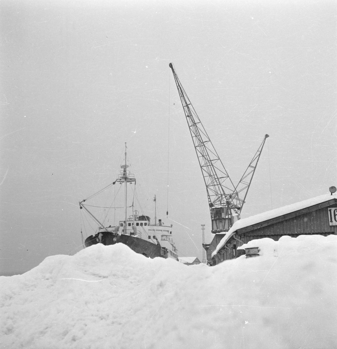 """Vinter i byen. Hurtigruteskipet """"Vesterålen"""" ved kaia"""