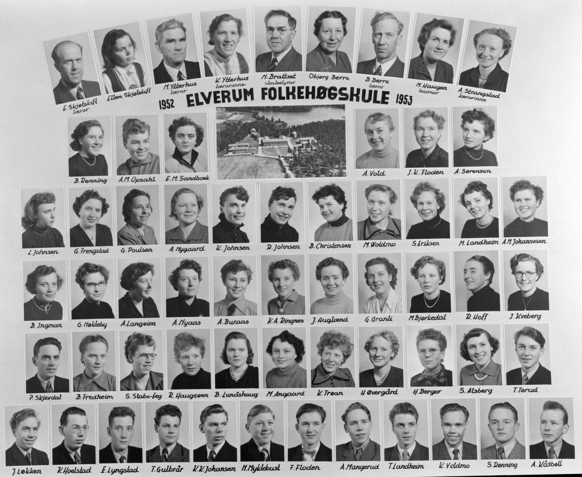 Gr: Elverum folkehøgskule, montasje, 1952-53. Elverum.   Øverst fv: lærer E. Skjøtskift, Ellen Skjøtskift, lærer M. Ytterhus, lærerinne K. Ytterhus, skulestyrer N. Brattset, Objørg Berre, lærer B. Berre, husmor M. Haugen, lærerinne A. Strangstad.  2. rekke fv: B. Rønning, A. M. Opsahl, E: M. Sandbæk, A. Vold, J. K. Floden, A. Sørensen.  3. rekke fv: G. Frengstad, G. Poulsen, A. Nygaard, K. Johnsen, R. Johnsen, B. Christensen, M. Woldmo, S. Eriksen, M. Landheim, A. M. Johannesen.  4. rekke fv: B. Ingmar, G. Nøkleby, A. Langøien, A. Nyaas, A. Buraas, K. A. Ringnes, J. Auglænd, G. Granli, M. Bjørkedal, R. Hoff, J. Kveberg.  5. rekke fv: B. Fredheim, S. Stabo-Eeg, R. Haugsøen, B. Lunåskaug, M. Angaard, K. Trøan, H. Øvergård, H. Berger, S. Alsberg, T. Tørud.  Siste rekke fv: J. Løkken, K. Hoelstad, E. Lyngstad, T. Gulbrår, K. K. Johansen, M. Myklebust, F. Floden, A. MAngerud, T. Landheim, K. Voldmo, S. Rønning, A. Kåsbøll.