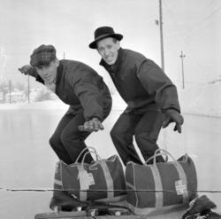 Skøyteløpere, Roald Aas og Thorstein Seiersten. Hamar stadio