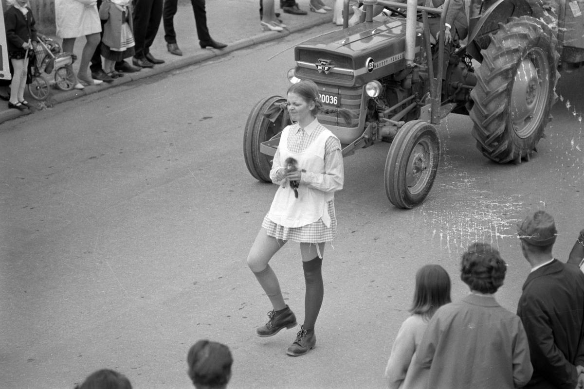 17. mai feiring i Brumunddal 1969. Nasjonaldag. Dala-russen-69. Brumunddal gymnas, russetoget.