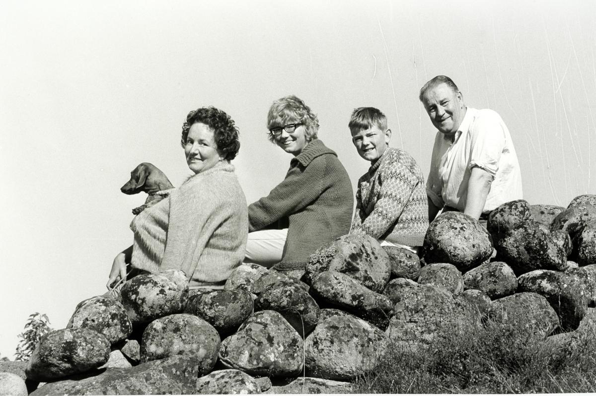 Alf Prøysen med familie på hytta, Tromøya ved Arendal, foto Johan Brun for Dagbladet, negativer på Hedmarksmuseet.
