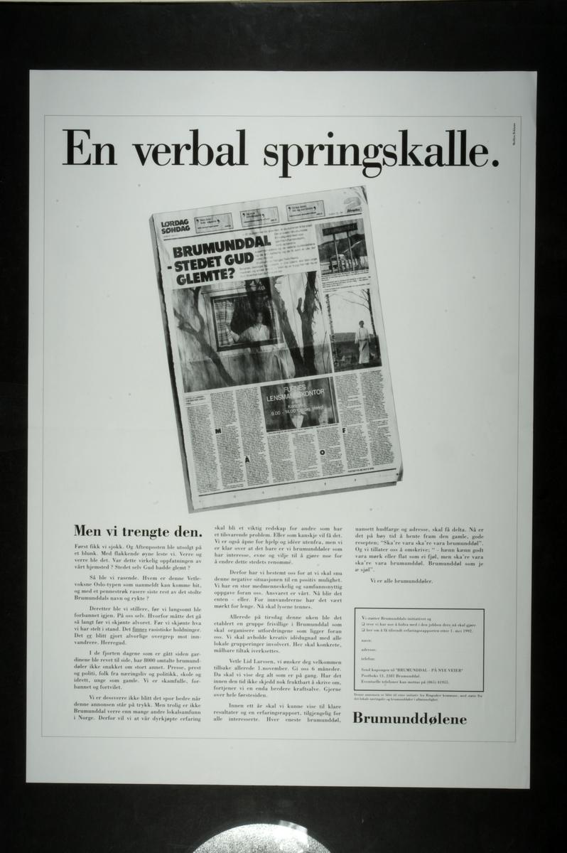 """""""Repro annonse, En verbal springskalle, Brumunddalsslaget, Hans Chr. Medlien. Se """"""""Ringsakboka VI"""""""", 2006, Ola Alsvik, s. 360. """""""
