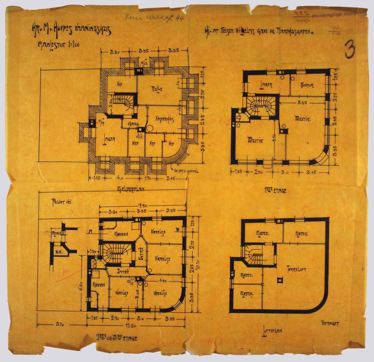Hr. M. Hovdes vaaningshus [Arbeidstegning]