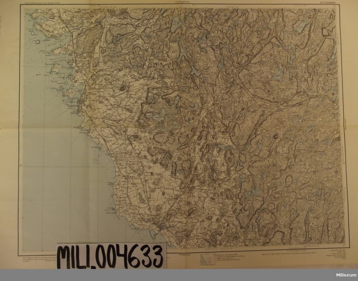 Karta, 18. Varberg. Skala 1:100000.