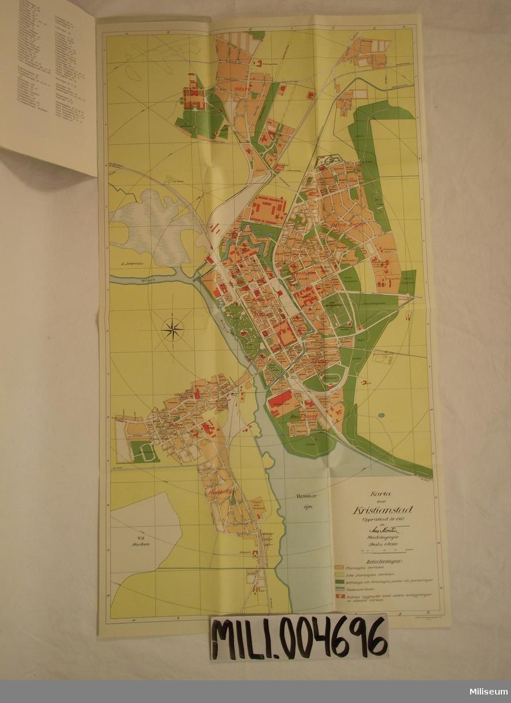 Karta, turistkarta över Kristianstad. Skala 1:8000.