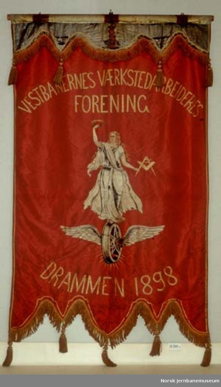 Fane : Vestbanenes verksted-arbeideres forening - gonfalon, 5-fliket med kappe