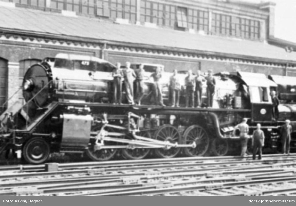 Damplokomotiv type 49c nr. 473 ved levering fra Thune's mekaniske Værksted