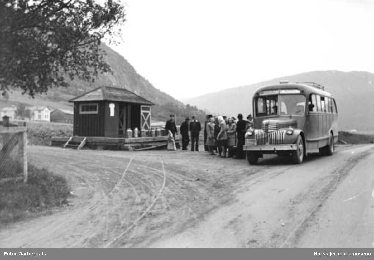 Selburutens buss C-17889 og reisende ved Elvran holdeplass
