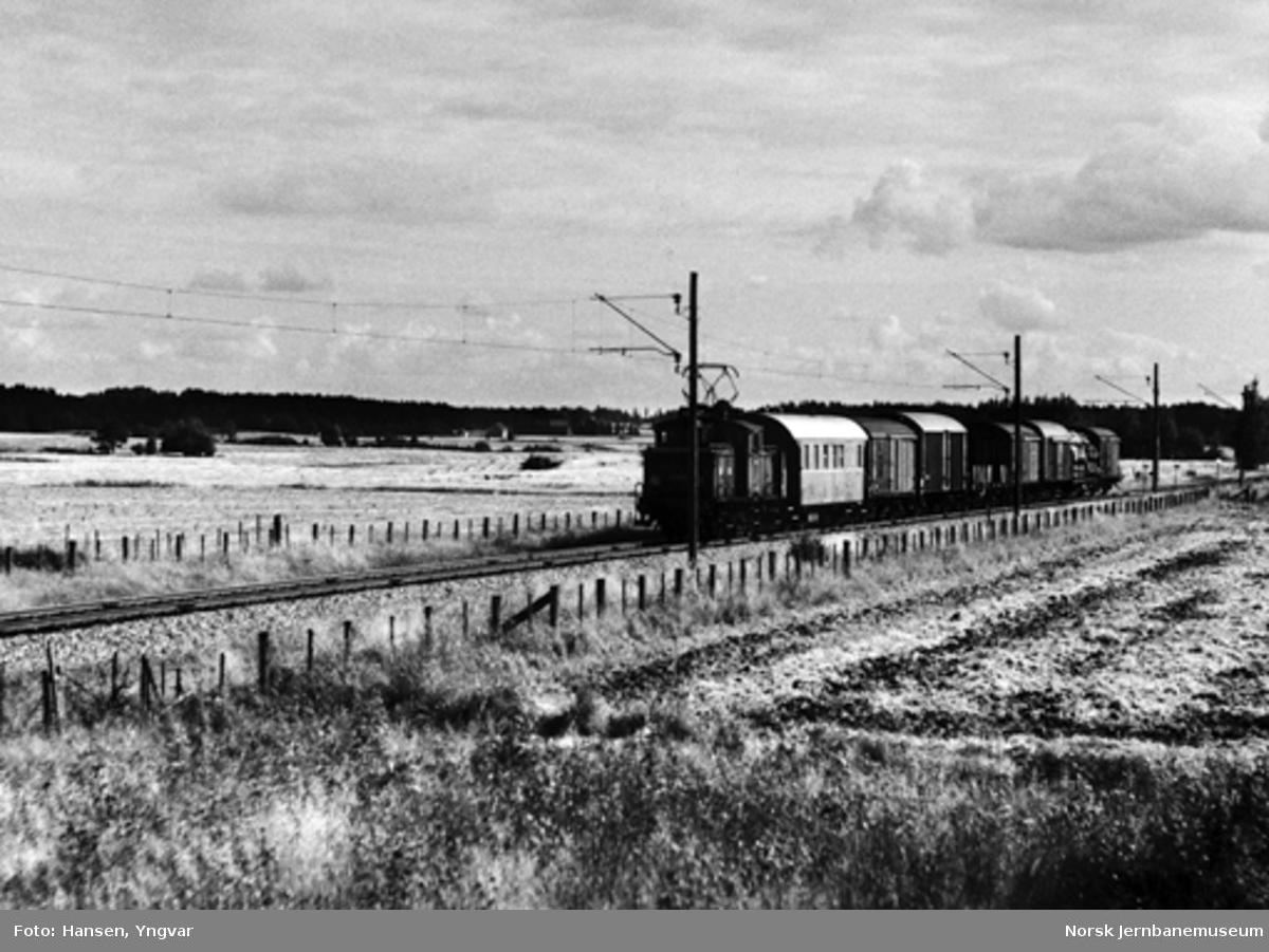 Godstoget på Østre linje, trukket av elektrisk lokomotiv El 10