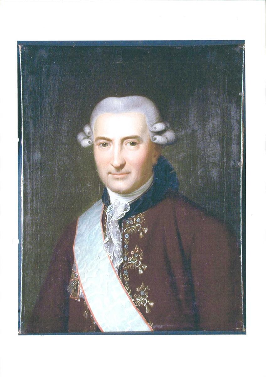 Mann m/parykk, ordensbånd, brun jakke m/blå krave. Ove Høeg Guldberg, statsminister i Danmark-Norge 1772-1784.