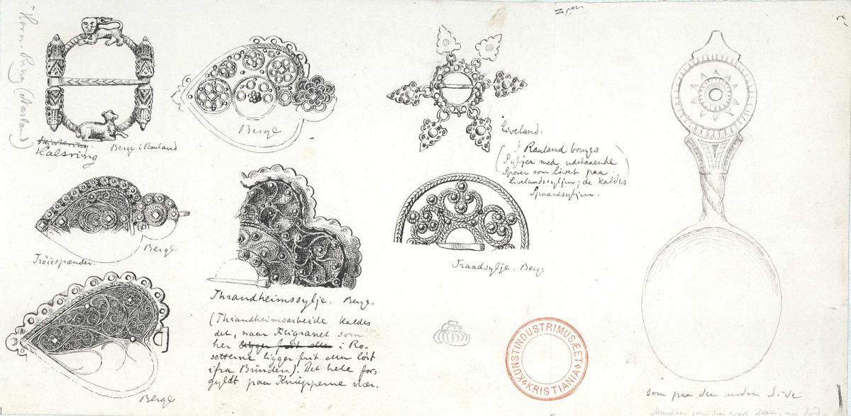 August Schneiders tegning av skje og søljer. Berge, Rauland, Vinje, Telemark.