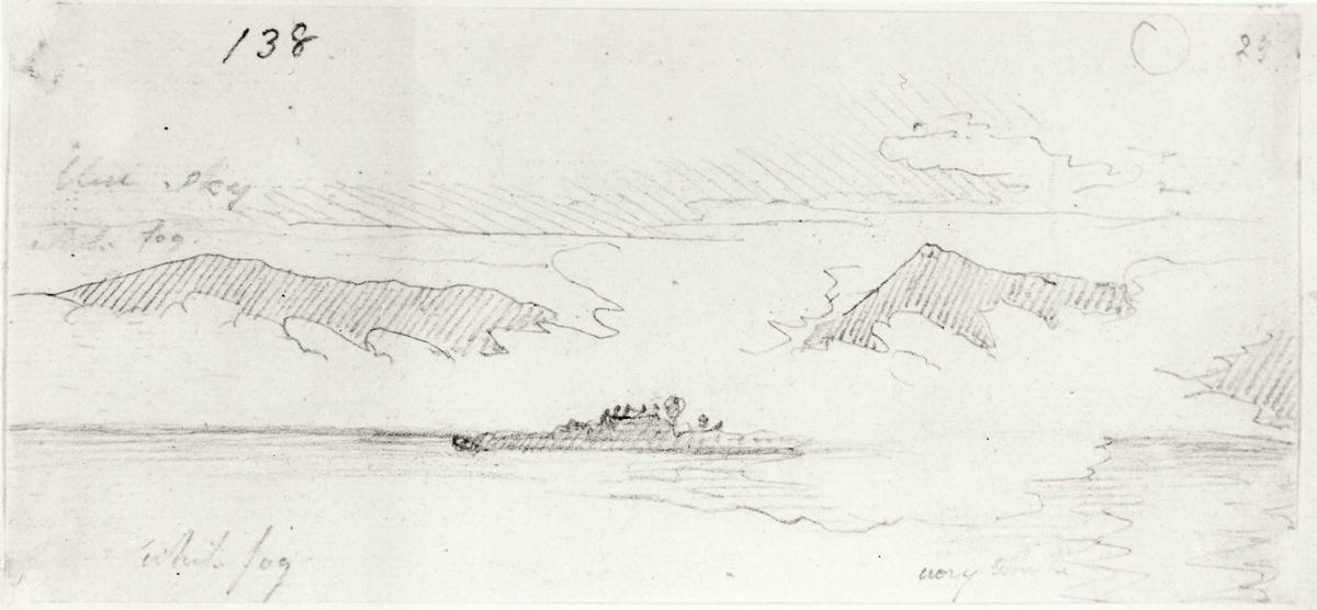 """Oslofjorden. Blyantskisse av John Edy: Drawings, Norway, 1800. """"Tåke på fjorden"""". Skissealbum utlånt av Deichmanske bibliotek."""