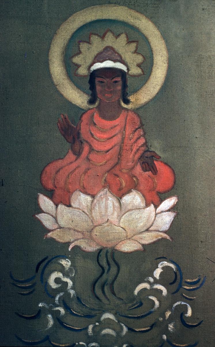 Maleri - buddistguddommen Amitaba på lotusblomst. Laget av Carl Lønseth, på oppdrag av sogneprest Strømme, til Snåsa prestegård i Nord-Trøndelag.