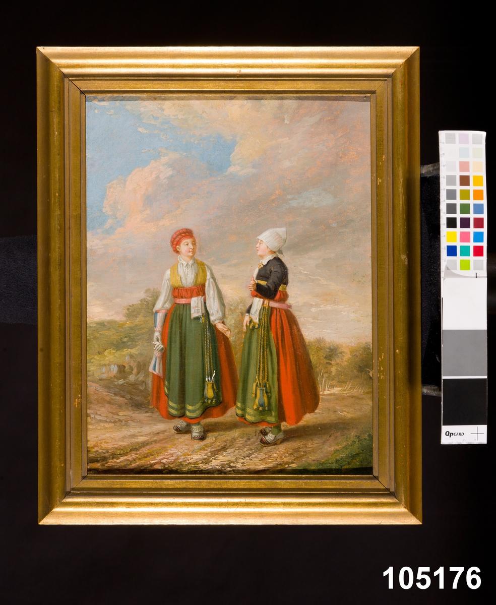 """Katalogkort: """"Tavla, dräkter,  olja på duk, 1782, Pehr Hilleström. Signerad på baksidan  n.t.h. på spännramen: 'Hilleström feicit'. Två kvinnor i högtidsdräkt från Vingåker, Södermanland. Ogift kvinna med handskar. Bakgrunden diffust öppet landskap med låg horisont. På baksidan läses med brunt bläck 'Bonde Hustru och dotter i Högtidsdräkt, sådan som den brukas i Wingåker'.  Lena Stenberg-Holger 1976."""" [tavelinventering 1976]"""
