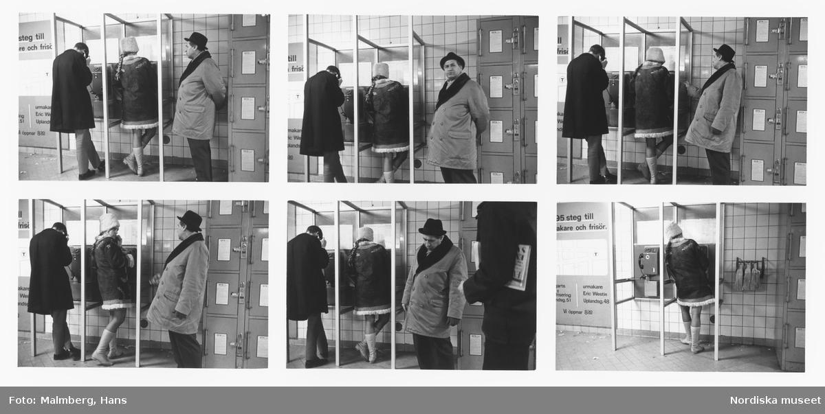 Stockholm 1968.  Ung kvinna i telefonkiosk, köande man.