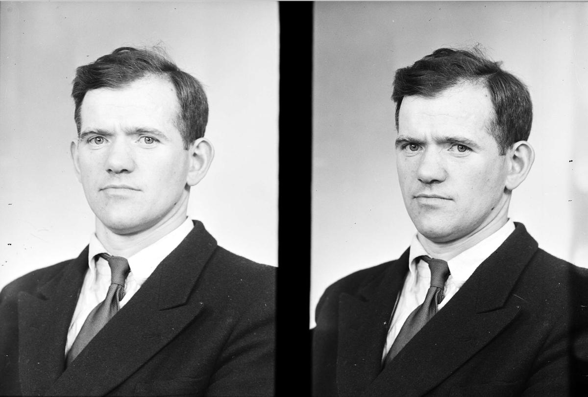 Ateljéporträtt - Karl Jespersson, Lännaholm (Länna), Almunge socken, Uppland augusti 1954